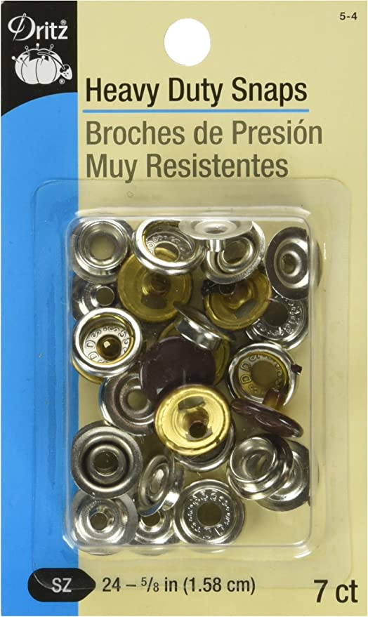 Size 24 7 Sets Nickel-Plated Brass 5//8-Inch Dritz 18-65 Heavy Duty Snap Fastener Kit