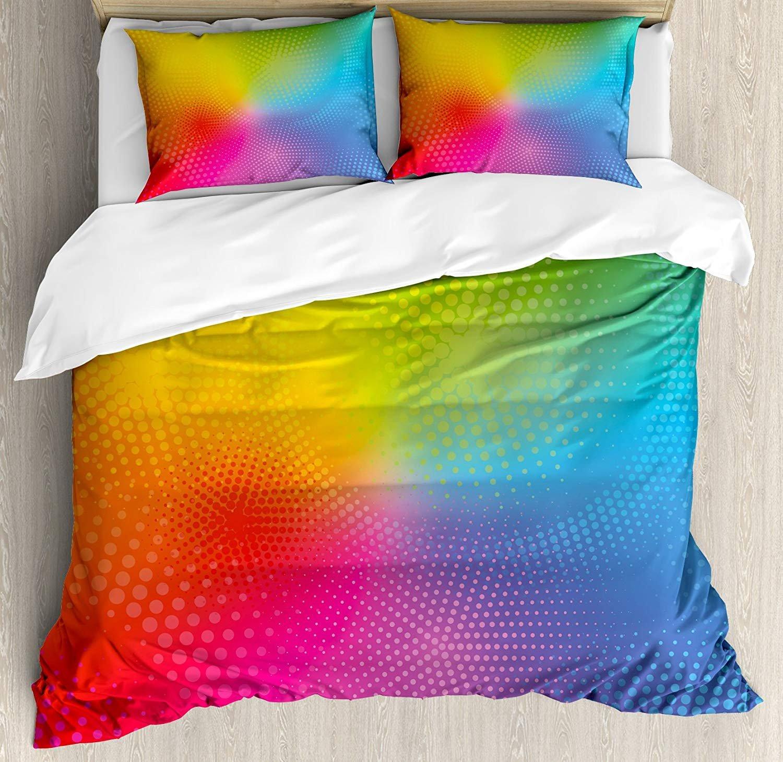 レインボー寝具布団カバー4点セット 通気性 ソフト 非常に丈夫なマイクロファイバーセット ホテル/寝室用 鮮やかなネオンカラー 円形ドット 光り輝く合成虹色効果プリント ツイン VET2018/11/07-5711 B07L9R6RLV スタイル3 ツイン
