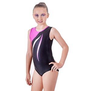 ƒdition de luxe: Justaucorps Gymnastique Sans Manches Cerise Pink et Jet Black avec dŽtail Wave et Diamante