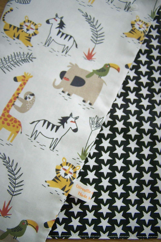 Serviette de table enfant avec attache pression; serviette animaux de la savane doubl/ée tissu coton