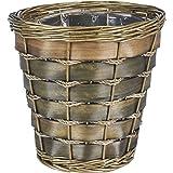Household Essentials Small Haven Willow and Poplar Decorative Waste Basket, Natural Dark Brown
