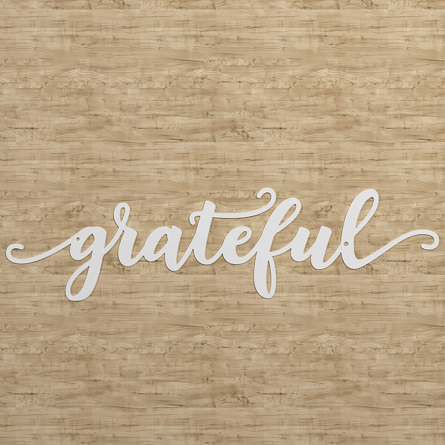 "American Maker 'Grateful' Steel Wall Art Home Decor, Laser Cut Metal Sign Decoration, Hanging Word Plaque for Family Room, Entryway or Kitchen, Made in the USA, White, 17"" x 4.25"""