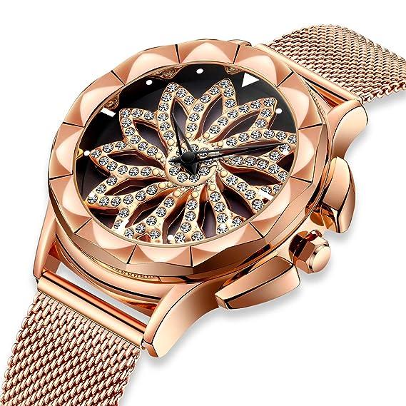 Relojes para Mujer Reloj Damas de Malla Impermeable Relojes de Pulsera de Cuarzo  Analógico para Mujer 1bfacbdf35a2