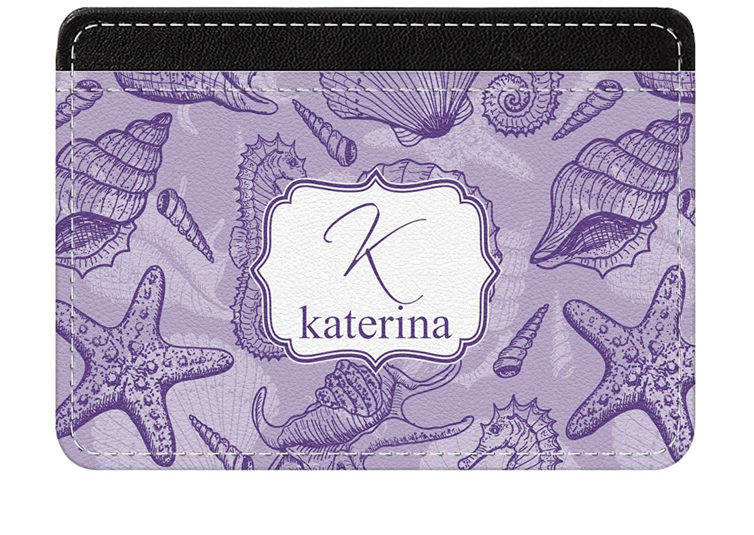 Personalized Sea Shells Genuine Leather Front Pocket Wallet