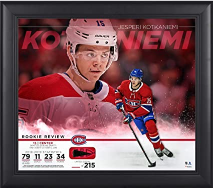 """53e39444e3c Jesperi Kotkaniemi Montreal Canadiens Framed 15"""" x 17"""" Rookie  Review Collage with Piece of"""