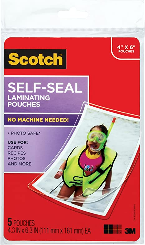 4 3//8 x 6 3//8 Inches PL900G - 2 Pack Scotch Self-Sealing Laminating Pouches 5 Pouches Glossy Finish