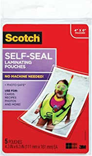 product image for Scotch Self-Sealing Laminating Pouches, Glossy Finish, 4 3/8 x 6 3/8 Inches, 5 Pouches (PL900G)