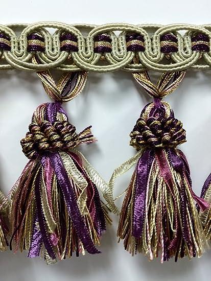 4 Tassel Fringe Trim TF-16//3-29-17 Beige//Purple /& Lt Green