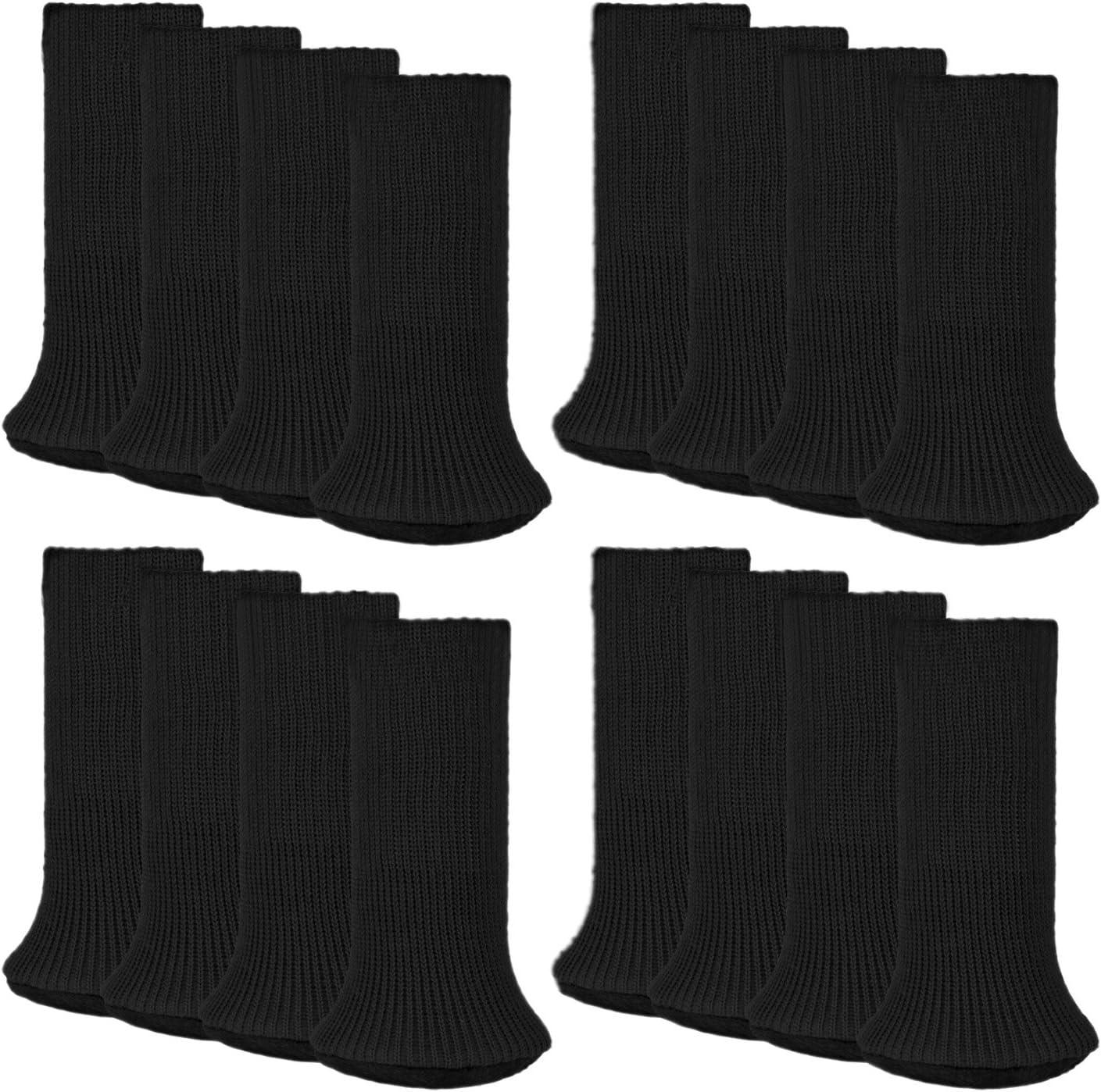 Outgeek Furniture Socks 16 Pcs Chair Leg Socks Anti-Skid Wool Knitted Chair Leg Floor Protector Thick Bottom Furniture Leg Covers (Black)
