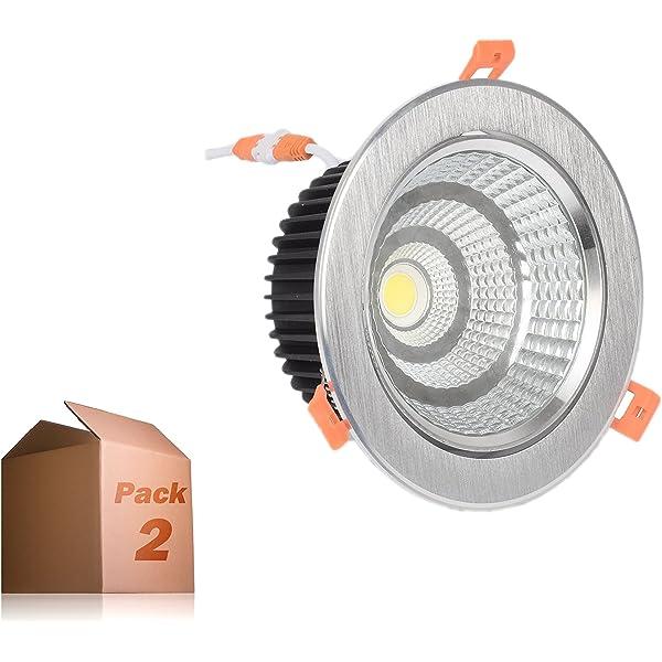 Foco Downlight LED 7W Pack 2 Blanco Calido Aro Plateado: Amazon.es: Iluminación