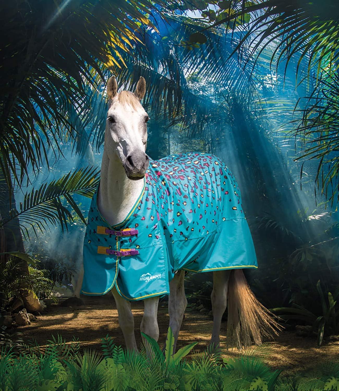 Teal Leopard Shires Highlander Original Lite Pony//Horse Turnout Rug