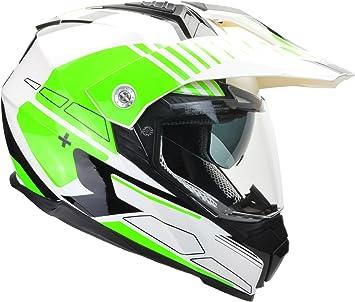 Amazon Com Vega Helmets Cross Tour 2 Dual Sport Helmet With Internal Sun Visor Full Face Motorcycle Helmet For Atv Mx Enduro Quad Off Road 5 Year Warranty Hi Vis Green Adventure Graphic