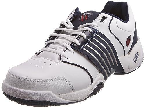 K-Swiss ACCOMPLISH LS~WHITE/NAVY~M 01805-109-M - Zapatillas de tenis de cuero para hombre, Blanco, 50: Amazon.es: Zapatos y complementos