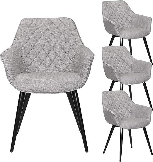 eSituro SDC0170 4 Esszimmerstühle 4er Set Küchenstühle, gut gepolsterte Sitzfläche aus Leinen Grau, Design Retro Stuhl Wohnzimmerstühle
