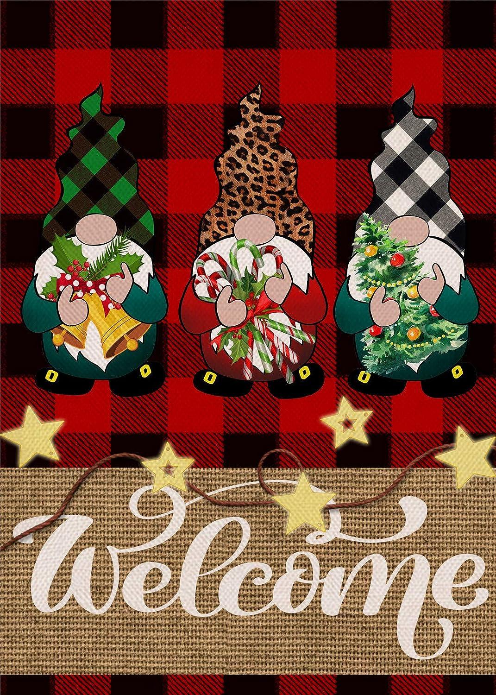 Covido Home Decorative Welcome Christmas Garden Flag, Buffalo Plaid Check Gnomes House Yard Xmas Star Decor, Winter Holiday Farmhouse Outside Decorations Seasonal Outdoor Small Flag Double Sided 12x18