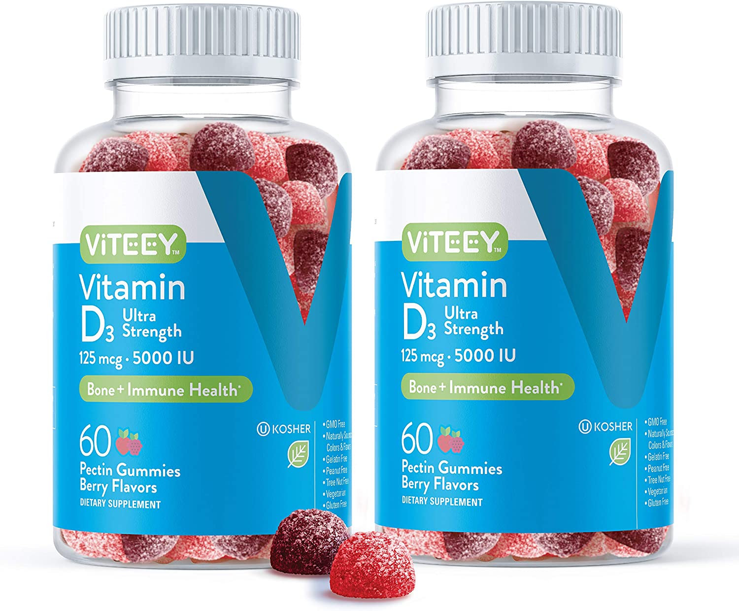 Vitamin D3 Gummies Ultra Strength 125mcg 5000 IU - Bone Health, Immune Health, Joint Muscle Support - Dietary Supplement, Pectin Chewable Gummy - for Adults Teens & Kids - Berry Flavor Jelly Chews
