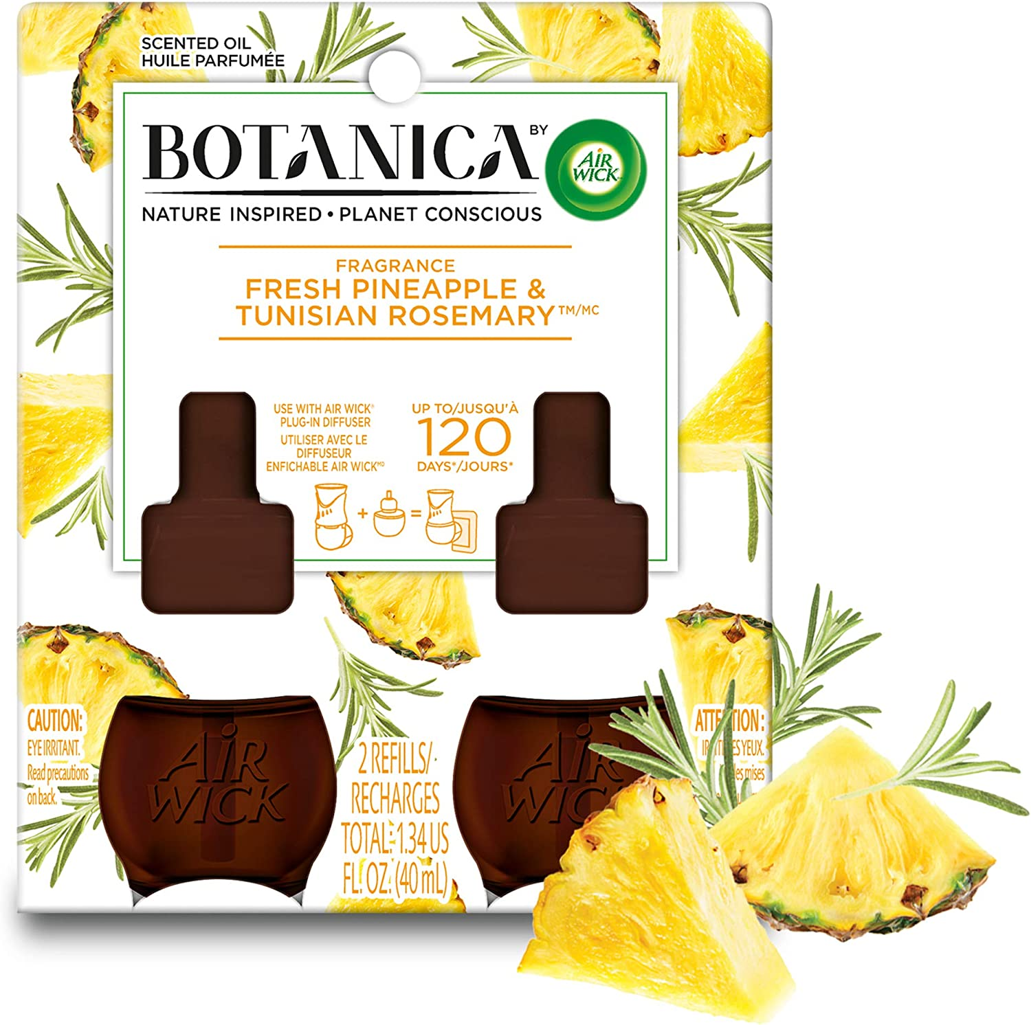 Botanica by Air Wick Plug in Scented Oil Refill, Fresh Pineapple and Tunisian Rosemary, Air Freshener, Essential Oils, (2 Count of 0.67 Fl Oz Refills) 1.34 Fl Oz