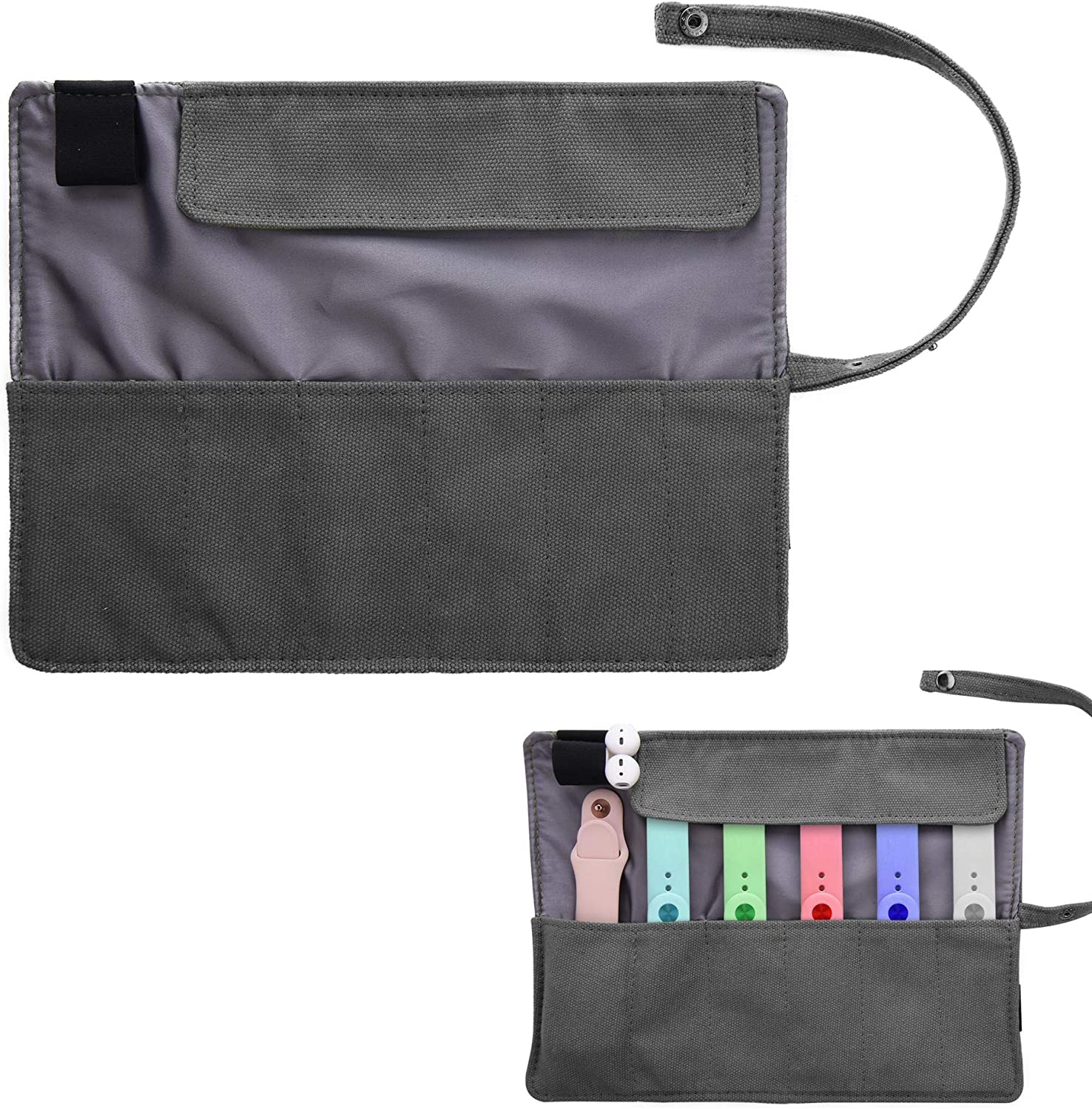 Watch Band Accessories Smartwatch Organizer Holder Pouch Protable Bag Travel Pouch Pencil Organizer Bag-Compatible with Apple Watchbands, Garmin Watch Band, Samsung Watch Band