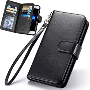 iPhone 8 Case, iPhone SE 2020 Case, iPhone 7 Wallet Case, XRPow [2 in 1] Magnetic Detachable Wallet Case [PU Leather] Folio Flip [9 Card Slot] [Wrist Strap] Durable Protection Cover 4.7Inch Black