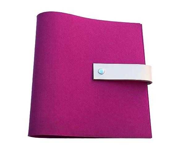 Archivador de fieltro con cierre de cuero DIN A4 - En 7 colores - Con grabado