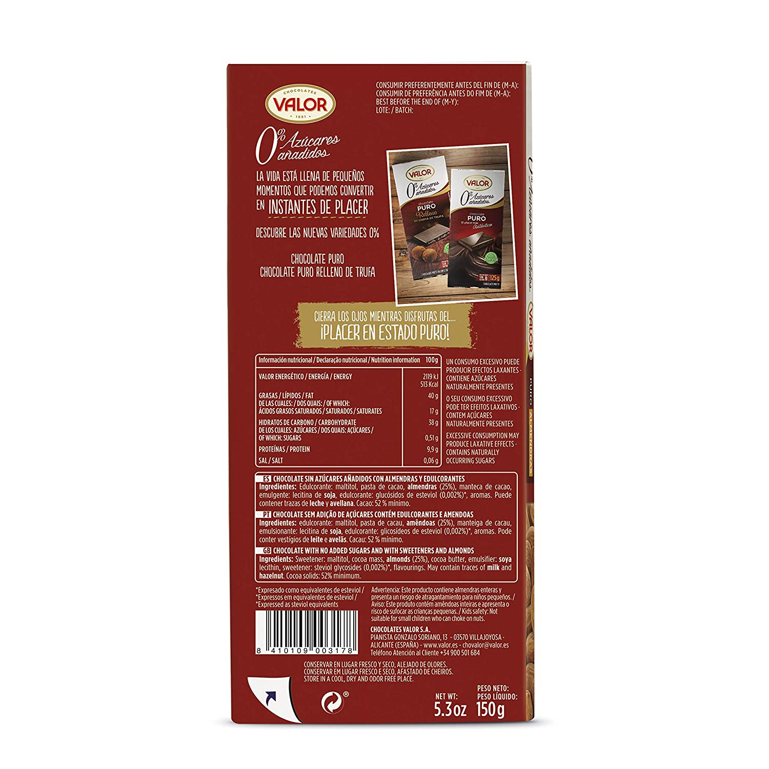 Chocolates Valor - Chocolate puro con almendras - 150 g - [pack de 3]