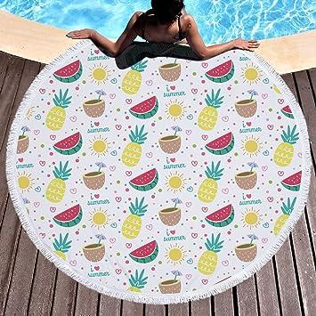 Toalla de playa grande redondo microfibra Piña Sandía Toalla de playa playa manta Toalla Mantel de picnic pared colgantes Yoga Alfombras 150 cm 7: ...