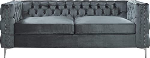 Iconic Home Da Vinci Modern Contemporary Velvet Button Tufted