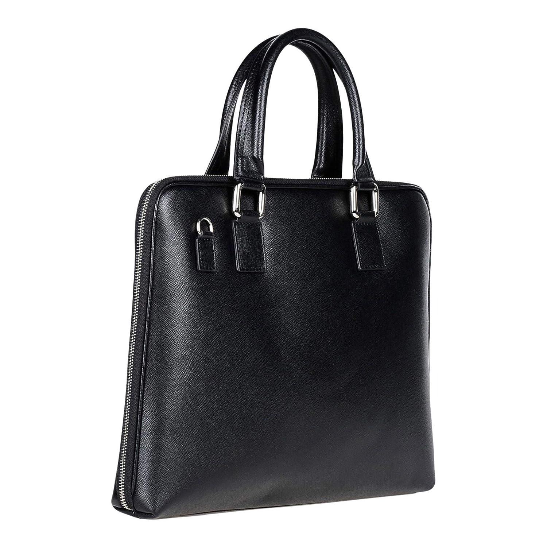 Laura Di Maggio Italian Made Black Leather Laptop Briefcase