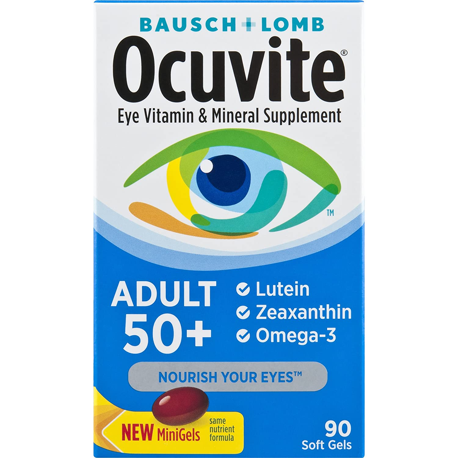 Bausch + Lomb Ocuvite Adult 50+ Vitamin & Mineral Supplement with Lutein, Zeaxanthin, and Omega-3 Soft Gels, 90-Count Bottle