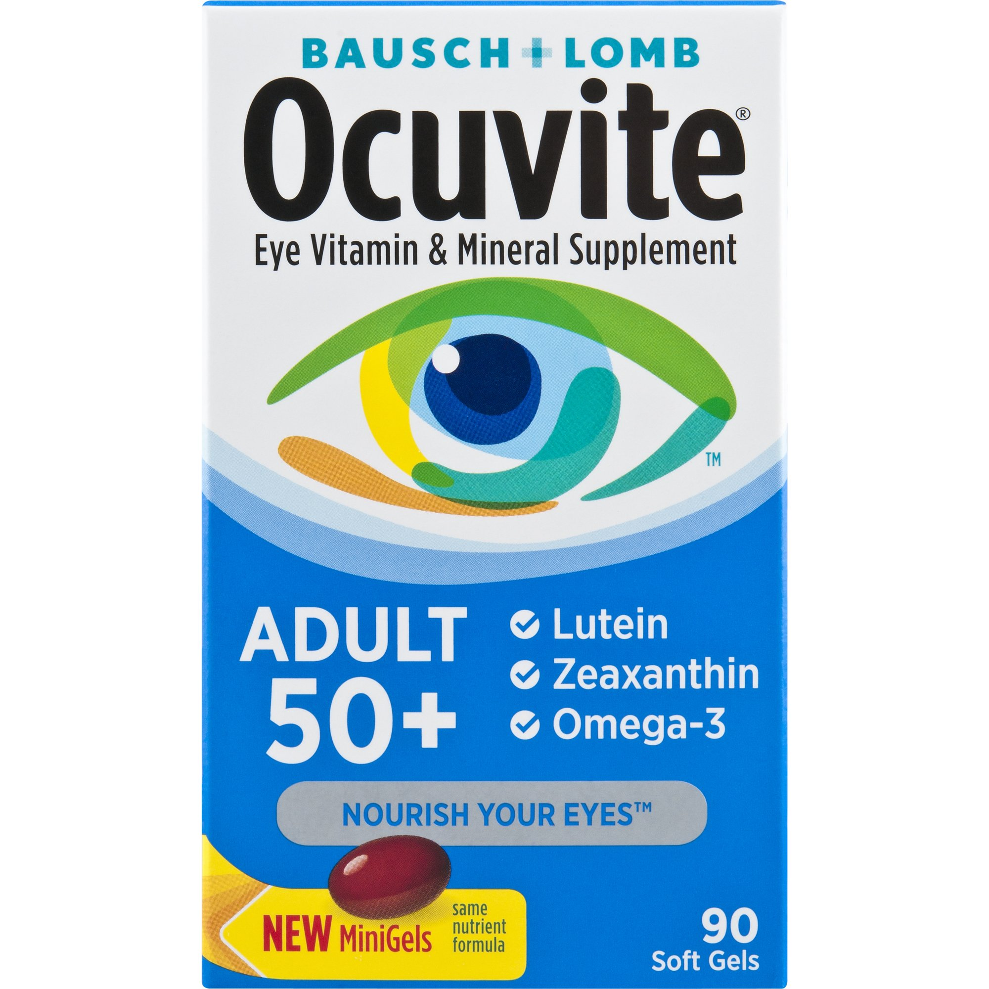Bausch + Lomb Ocuvite Adult 50+ Vitamin & Mineral Supplement with Lutein, Zeaxanthin, and Omega-3 Soft Gels, 90-Count Bottle by Ocuvite
