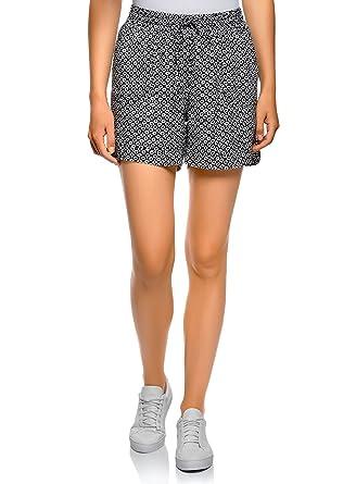 oodji Collection Damen Viskose-Shorts mit Bindebändern, Schwarz, DE 44   EU  46 f7bfef20f0