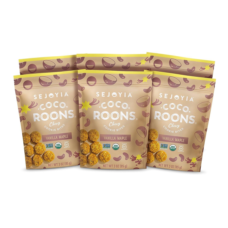 Sejoyia Gluten Free Vegan Coco Roons Paleo Keto Snacks, Vanilla Maple, 3 Ounce (6 Count), Organic Coconut