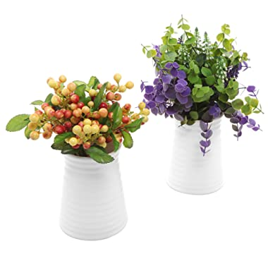 MyGift Ribbed White Ceramic Flower Vases/Tabletop Plant Containers, Set of 2
