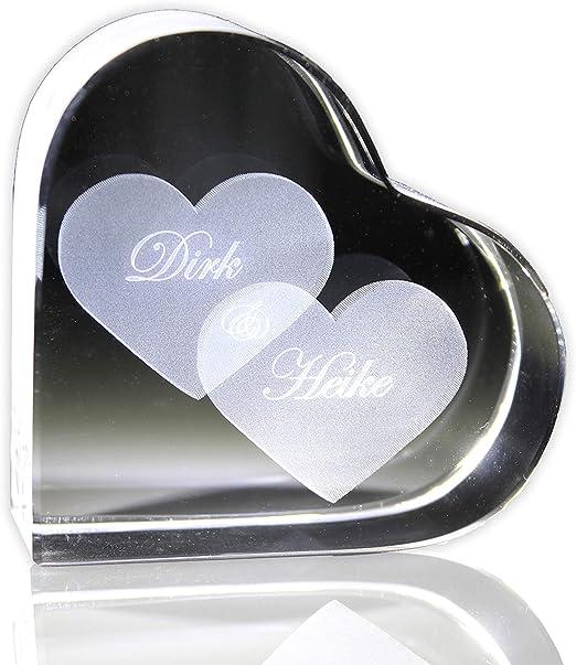 Wunschtext graviert VIP-LASER Glaswürfel XL mit zwei großen Herzen und Namen