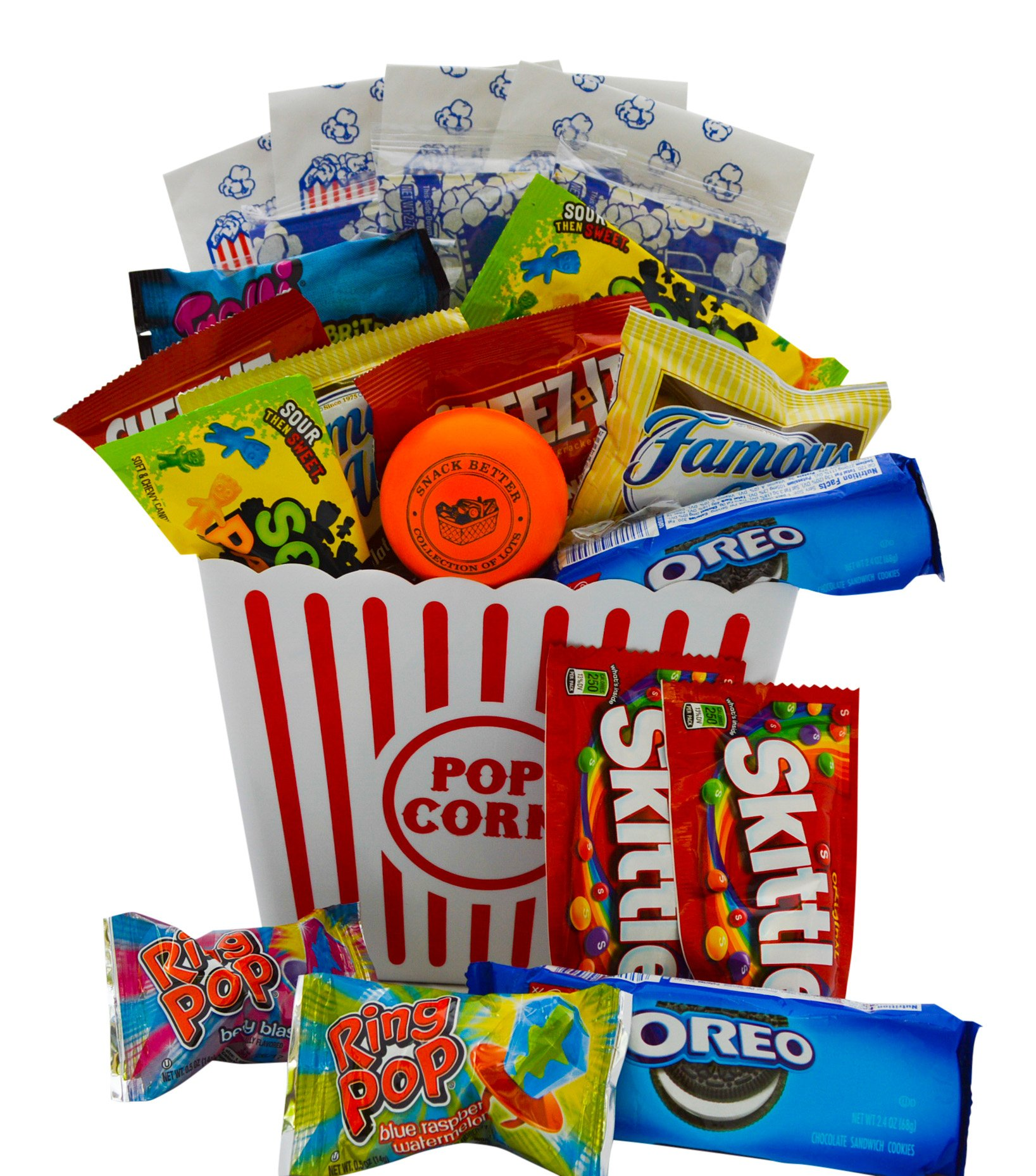 Ultimate Movie Night Gift Bundle Care Package, Easter Basket, Christmas Present, Valentines Day with Popcorn, Candy, Cookies Plus Snack Better Stress Ball for Entire Family! by Snack Better
