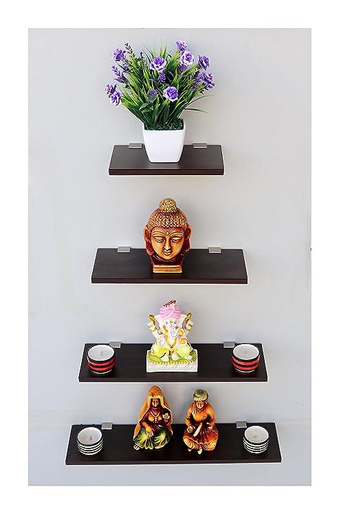 Captiver Wooden Display Wall Decor Shelf Wenge Set Of 4 Amazon