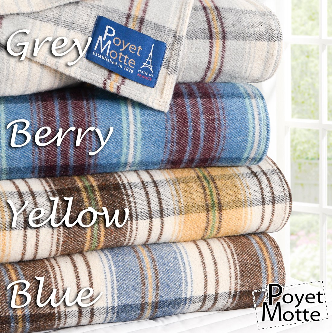 Poyet Motte Chevreuse Heavyweight Wool Blend Oversized Blanket, Machine Washable (Twin Size, Yellow Stripe) by Poyet Motte Made In France (Image #5)