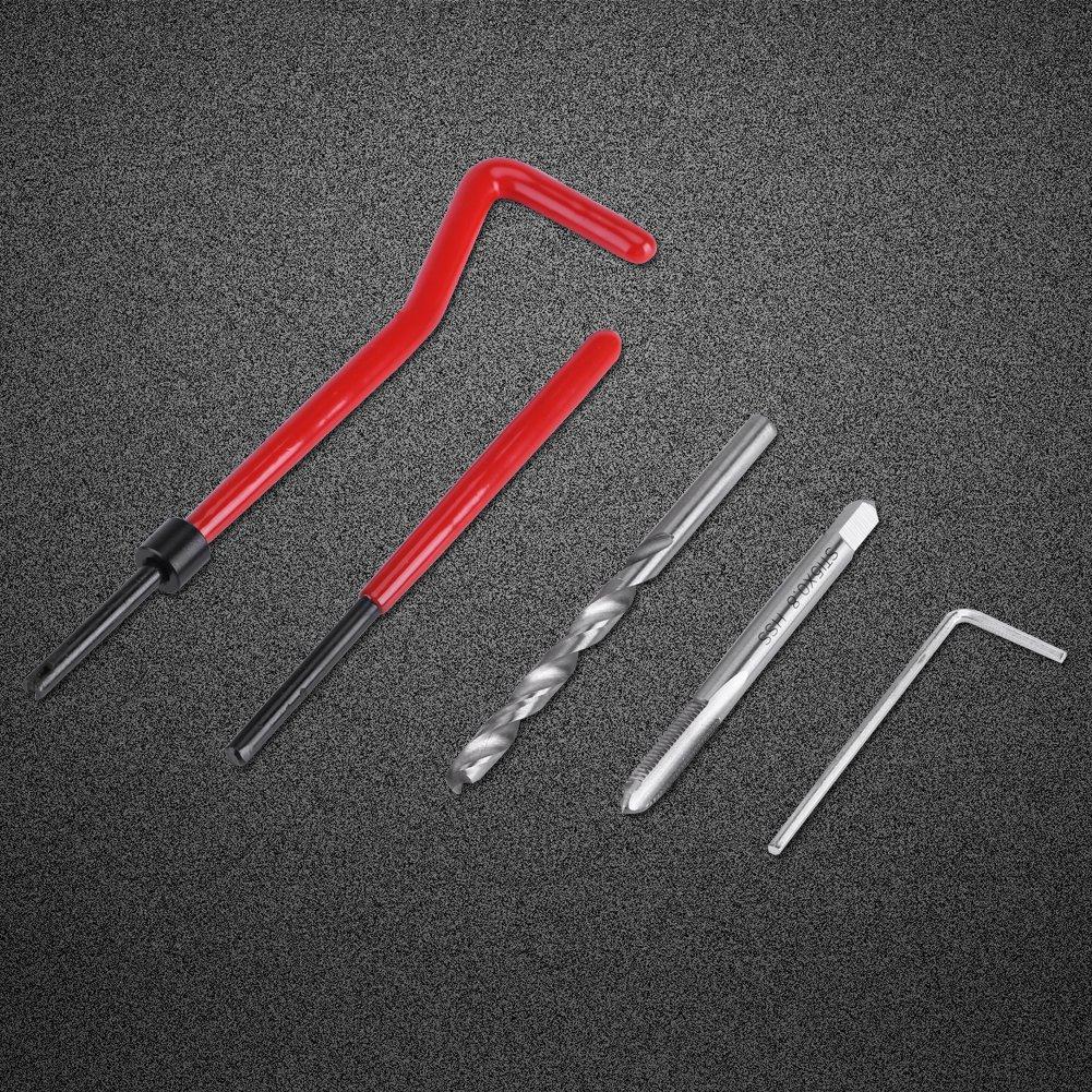 GLOGLOW Kit de R/éparation de Fil de M5//M6//M8 DE 30 Morceaux kit de R/éparation dHelicoil de kit de R/éparation de Foret de HSS R/égl/é pour la R/éparation Automatique M8