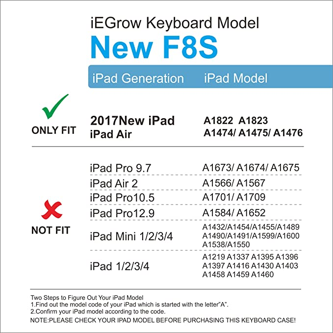 iEGrow F8S 7 Colors LED Backlit Keyboard with Protective Cover for iPad  9 7-Inch and Air (Golden)
