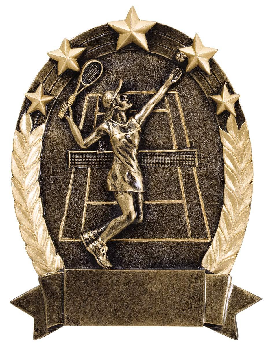 Etch Workz 6-1/4'' Tennis Awards - Five Gold Stars - Sports Theme Female Tennis Awards