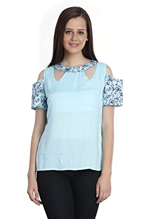 503c345d0 INSPIRE WORLD Women s Top with Off Shoulder Sleeves and Cutout Neck in Mint Blue  Color Rayon