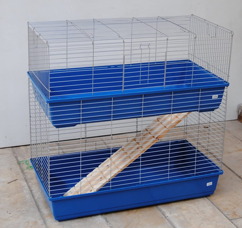 Doble töckiges de Home Hase jaula para roedores 100 cm Azul/cromo ...