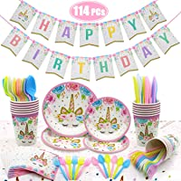 114 PCs Unicorn Party Supplies Kit Serves 16 Unicorn Birthday Party Supplies Happy Birthday Banner Cake Topper Cake Cutter Candles Goody Bags Napkins Plates Cups Utensils Table Cloth