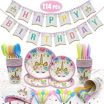 Wuree Unicornio Artículos de Fiesta Cumpleaños para niños ...