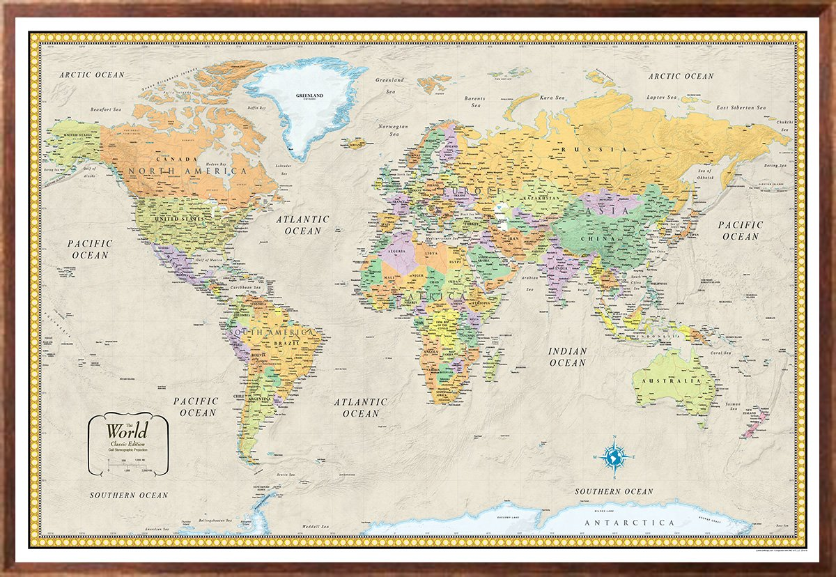 32x50 Rand McNally World Classic Wall Map Framed Edition by Swiftmaps