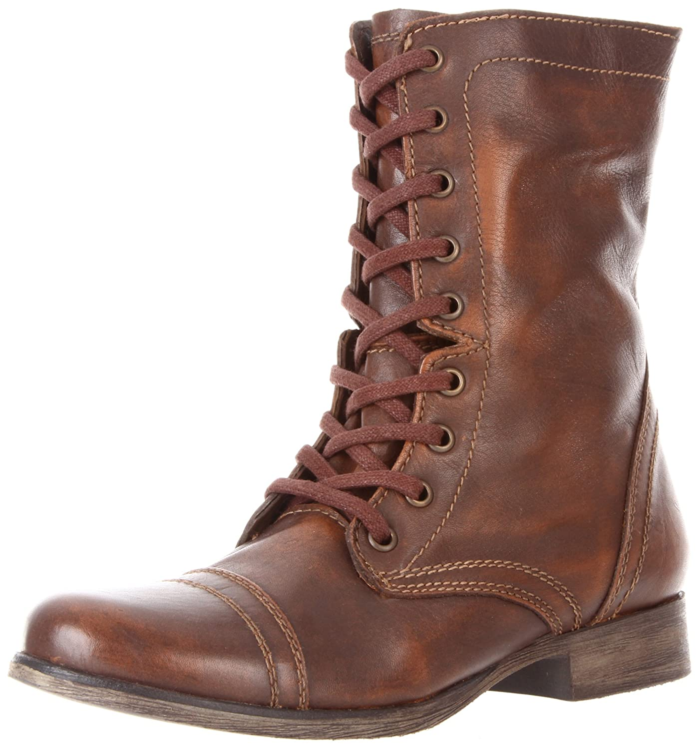 Steve Madden Women's Troopa Lace-Up Boot B0040Q8UKW 11 B(M) US|Cognac Leather
