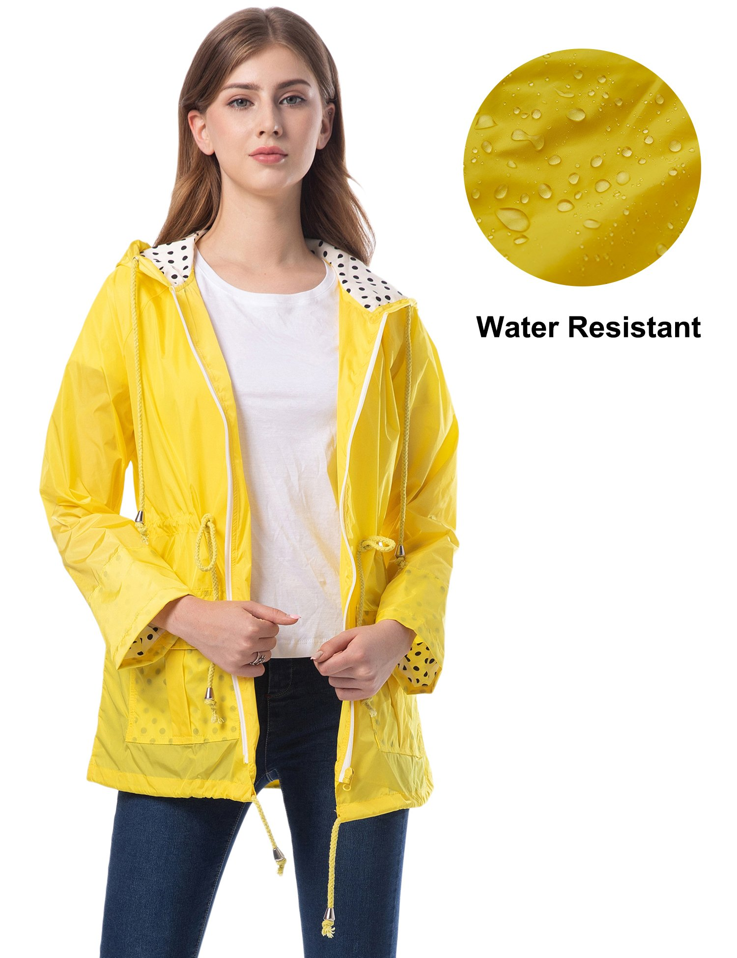 Romanstii Hooded Rain Jacket Women Outdoor Lightweight Active Wear Windproof Yellow L