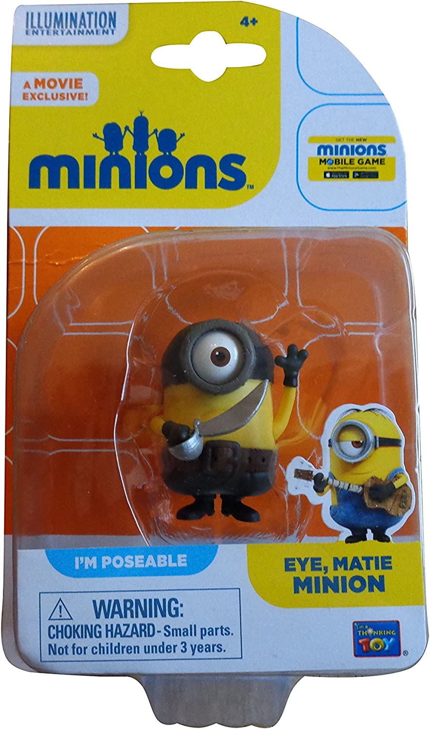 NEW Matie Minion Poseable Action Figure 2 Inches Tall Minions Eye