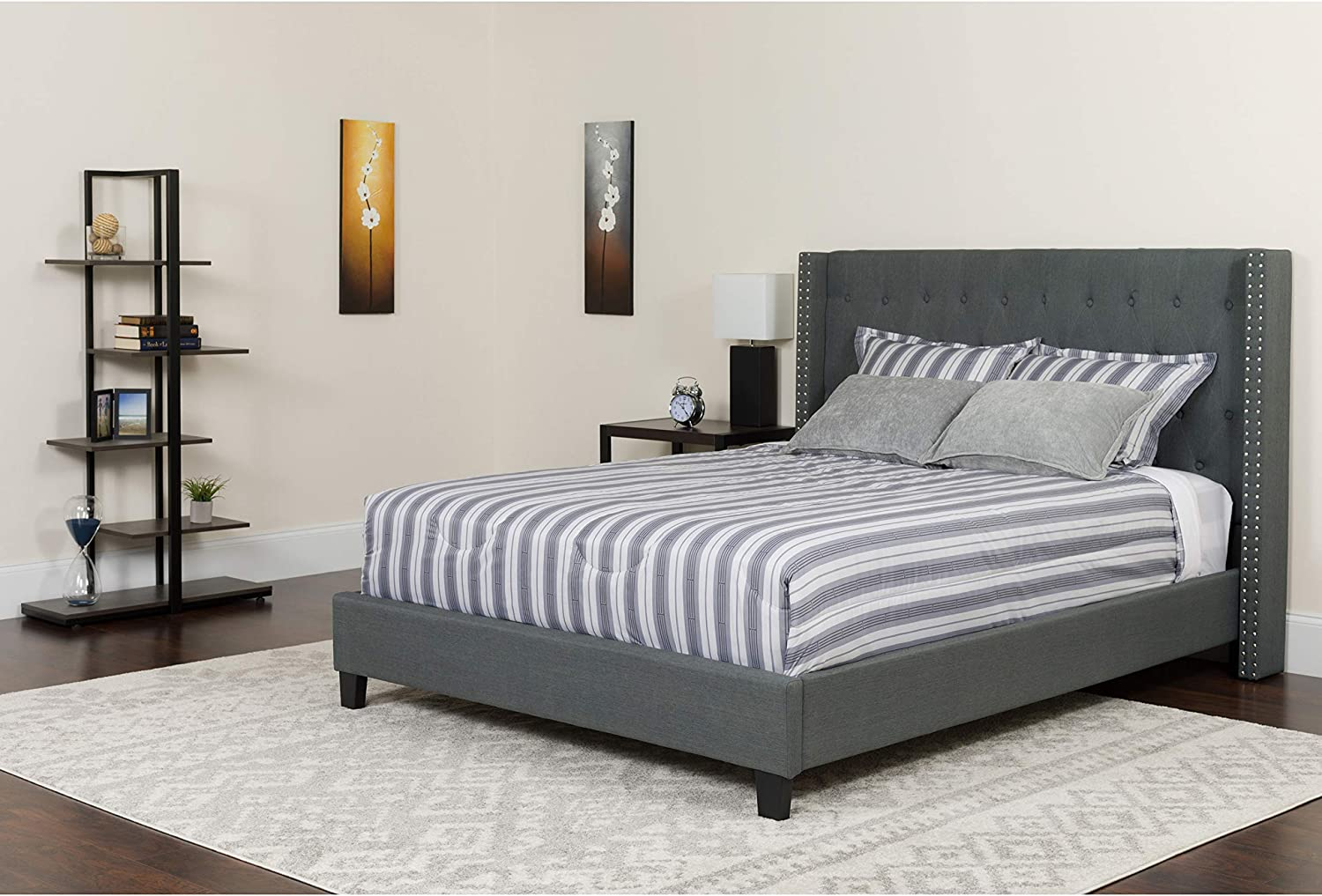 Flash Furniture Riverdale King Size Tufted Upholstered Platform Bed in Dark Gray Fabric