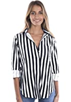 CAMIXA Women's Striped Collar Button-Down Stretch Cotton Shirt Casual Chic Staple